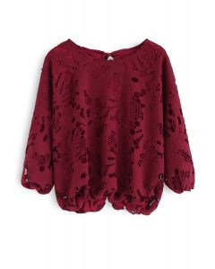 Finest Bloom Floral Crochet Top in Wine