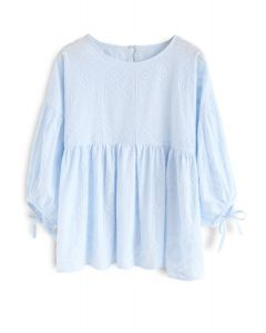 Boho Maze Embroidered Dolly Top in Blue