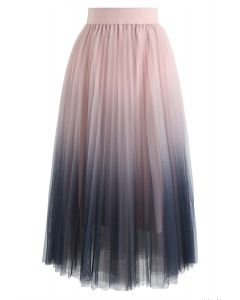 Cherished Memories Gradient Pleated Tulle Skirt in Pink