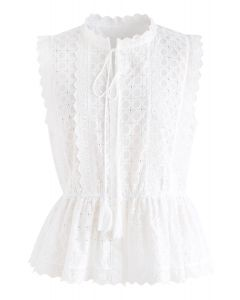 Sunflower Sleeveless Embroidered Top in White