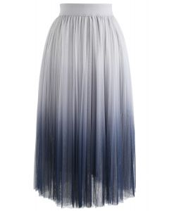 Cherished Memories Gradient Pleated Tulle Skirt in Grey