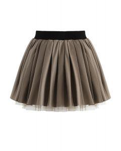 Cherubic Pleated Skirt in Olive For Kids