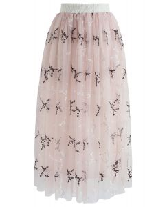Ethereal Floret Tulle Mesh Skirt in Pink