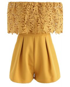 Summer Selected Off-Shoulder Playsuit in Mustard