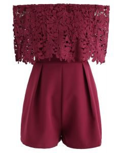 Summer Selected Off-Shoulder Playsuit in Wine