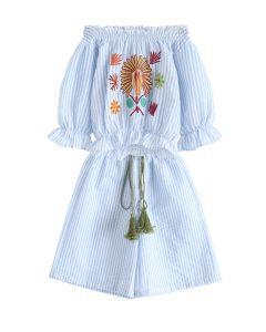 Spring Sun Embroidered Off-Shoulder Top and Pants Set For Kids