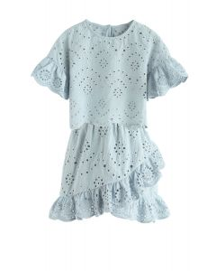Eyelet Beauty Top and Skirt Set in Dusty Blue For Kids