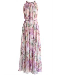 Sunflower Blossom Watercolor Chiffon Maxi Slip Dress