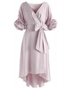 Next to You Hi-Lo Wrapped Dress in Lilac