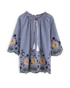 Daisy Around Embroidered Top in Blue Stripe