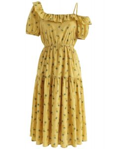 Pineapple Illusion Cold-Shoulder Dress in Yellow