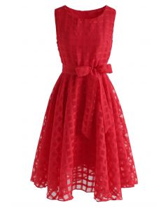 Eyes On Me Gingham Organza Midi Dress in Red