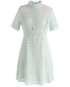 Dare to Try Hollow-Out Crochet Dress in Mint