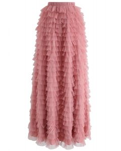 Swan Cloud Maxi Skirt in Rouge Pink