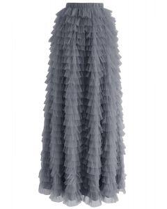 Swan Cloud Maxi Skirt in Grey
