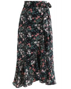 Flowers Never Bend Ruffle Asymmetric Wrap Skirt in Black