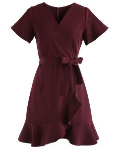 Simplify the Life Ruffle Dress in Wine