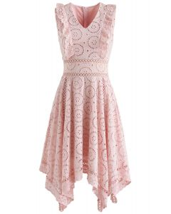 A Divine Dream Floral Eyelet Dress in Pink