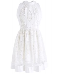 Love Always Floral Crochet Sleeveless Dress in White