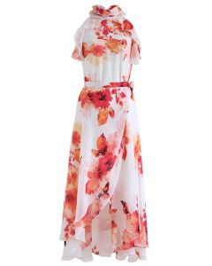 Show Me Your Love Floral Ruffle Top and Wrap Skirt Set in Red