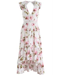 Peach Blossom Asymmetric V-Neck Frilling Dress