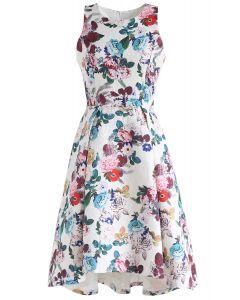 Florid Blossom Embossed Waterfall Prom Dress
