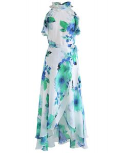 Show Me Your Love Floral Ruffle Top and Wrap Skirt Set in Green