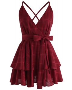 Dare To Dream Cross Back Cami Mini Dress in Red