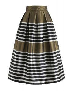 Retro and Classic Pleated Midi Skirt in Olive