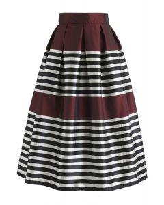 Retro and Classic Pleated Midi Skirt in Wine