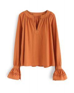 Lucid Dreams Hollow-Out Bell Sleeves Top in Orange
