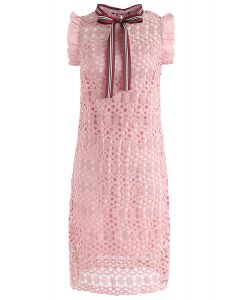 Always a Good Time Crochet Sleeveless Dress in Pink