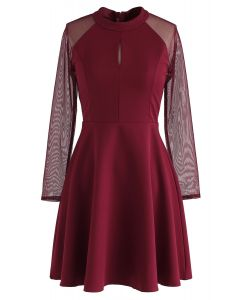 Elegant Edition Mesh Sleeves Dress in Red