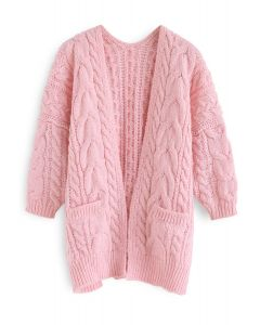 Love Lies Chunky Cable Cardigan in Pink