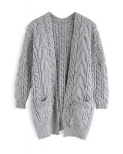 Love Lies Chunky Cable Cardigan in Grey
