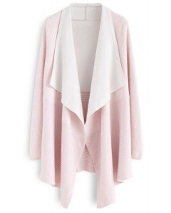 Soft Blush Ribbed Hem Drape Cardigan