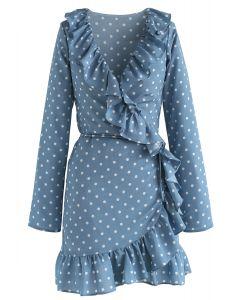 Deep Dream of Polka Dots Wrap Ruffle Dress in Blue