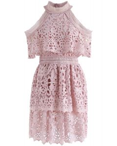Sweet Romance Cold-Shoulder Tiered Crochet Dress