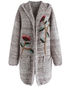 Tie Me Down Embroidered Hooded Knit Cardigan in Grey