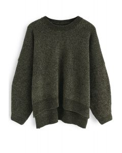 Let's Out Somewhere Ribbed Sweater in Army Green