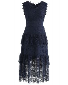 Sweeten Up Full Floral Crochet Tiered Midi Dress in Navy