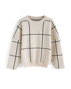 Grid Round Neck Sweater