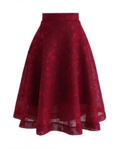 Honeycomb of Stars Midi Skirt in Red