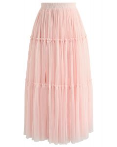 Keep It Real Two-Layer Mesh Skirt in Pink