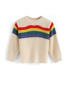 Over the Rainbow Knit Sweater in Cream For Kids