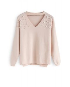 Escape the Ordinary Pearls Knit Sweater in Peach