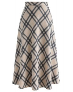 Bright Side Check Suede A-Line Skirt in Ivory