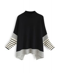 Lie in Black Fields Striped Oversize Knit Cape Sweater