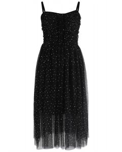 Sparkling Tulle Cami Dress in Black