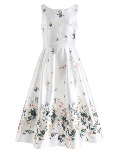 Fallen Rosa Printed Prom Dress in White